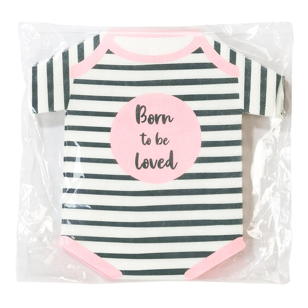 Born To Be Loved Pink Baby Grow Shaped Napkins - Talking Tables US Public