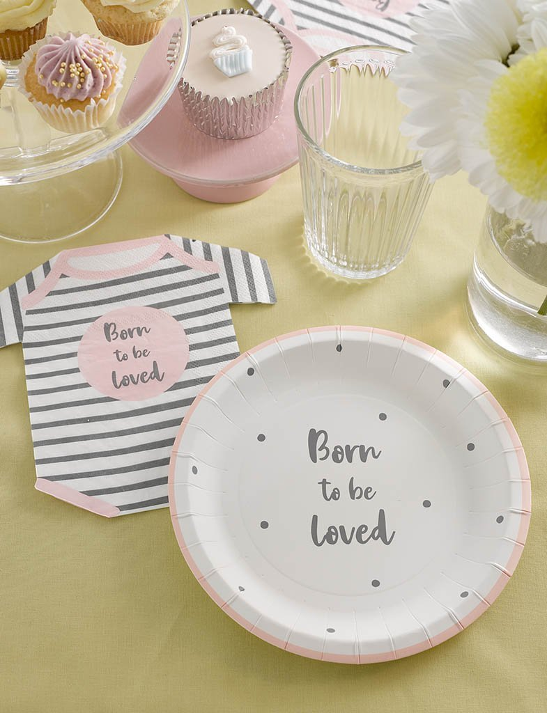 Born To Be Loved Pink Plates - Talking Tables US Public