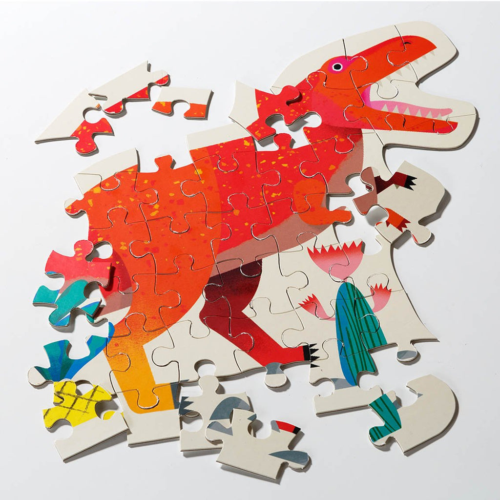 Party Dinosaur Tyrannosaurus Rex Shaped Puzzle 52 Pieces - Talking Tables US Public