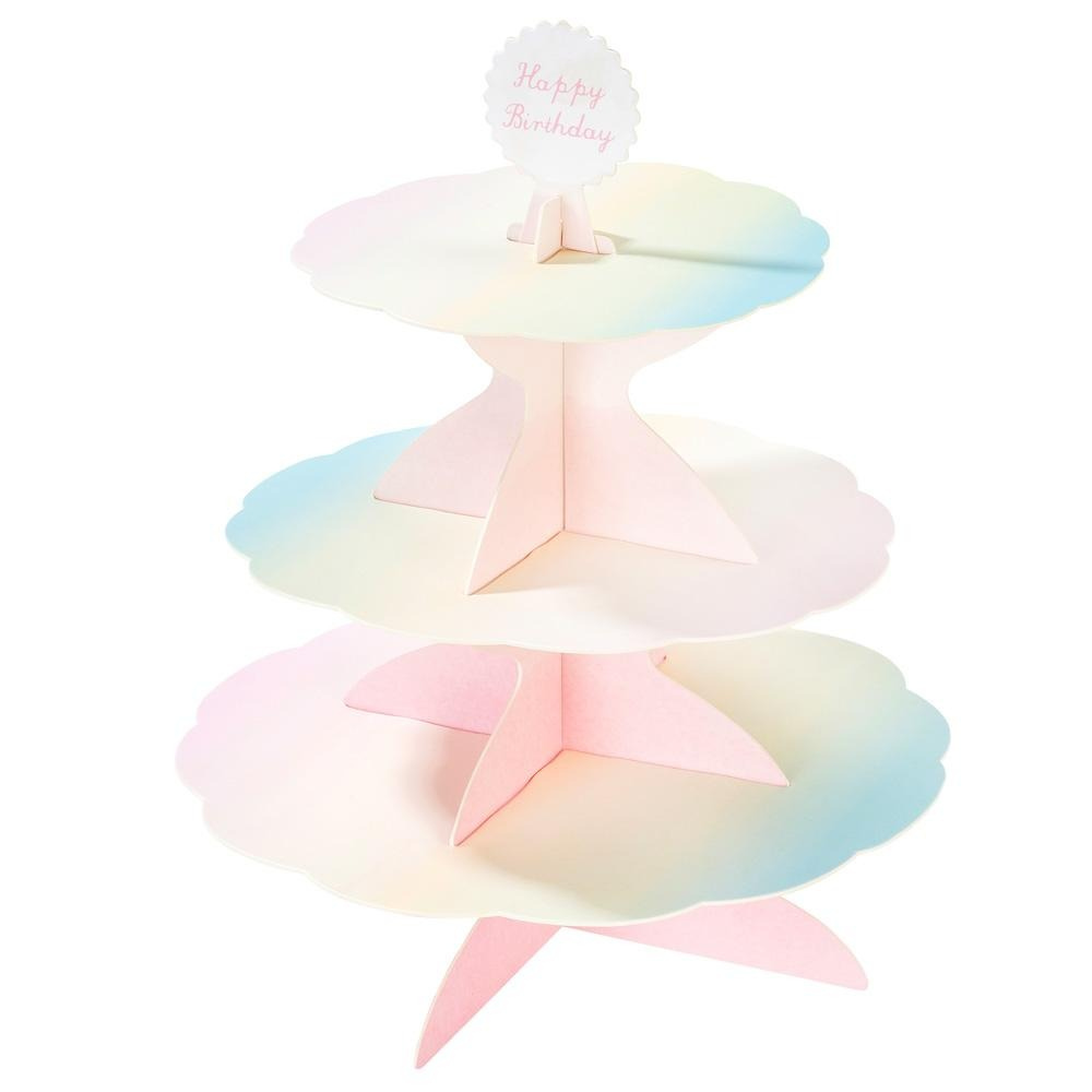Talking Tables we heart pastel 3 tier reversible cake stand with x 4 toppers