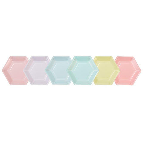 Talking Tables we heart pastels hexagonal plates 12 pk 6 designs 18cm diameter