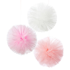 Talking Tables we heart pink tulle pom pom decorations 3pk