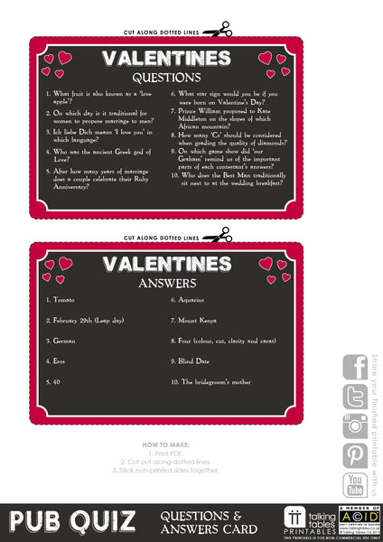 picture about Printable Man Card identify Printable - Pub Quiz Valentine Card Speaking Tables US General public