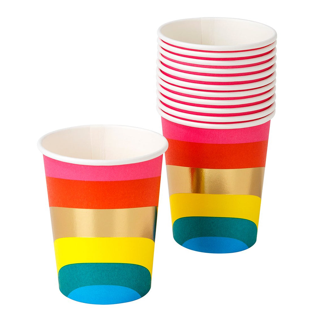 Birthday Brights Rainbow Paper Cups - Talking Tables US Public