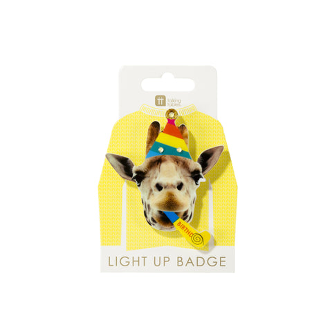 Birthday Brights Giraffe LED Badge - Talking Tables US Public