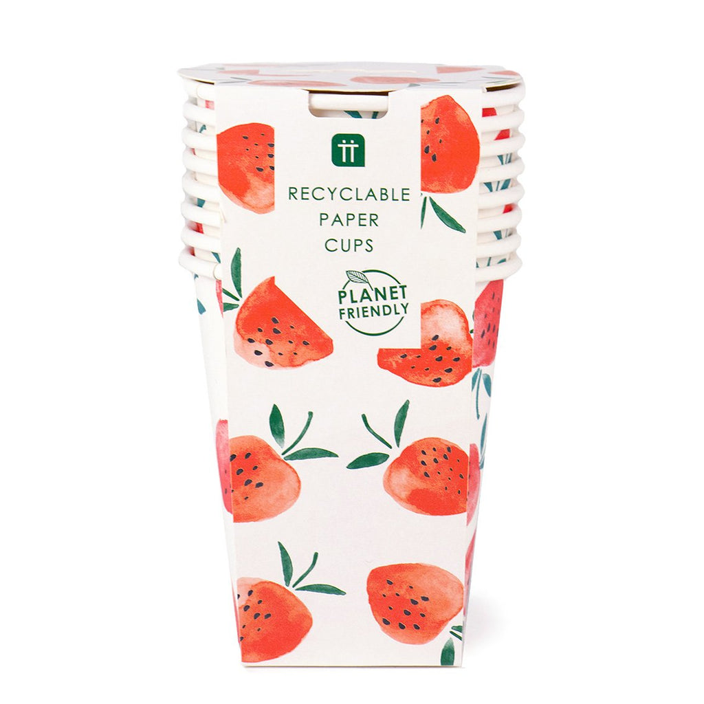Strawberry Fields Cups 8pk - Talking Tables US Public