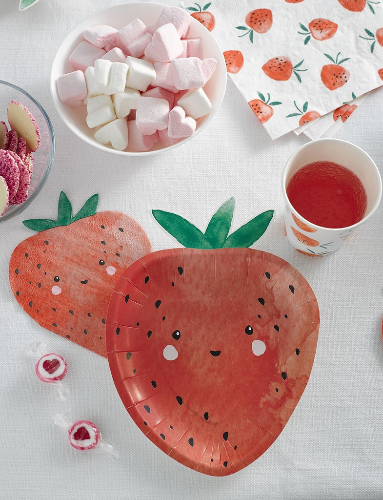Strawberry Fields Strawberry Shaped Plates - Talking Tables US Public