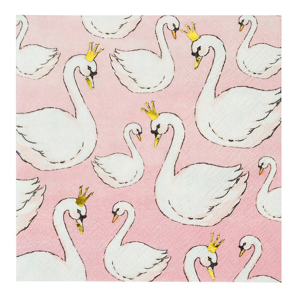 We Heart Swans Cocktail Napkins - Talking Tables US Public