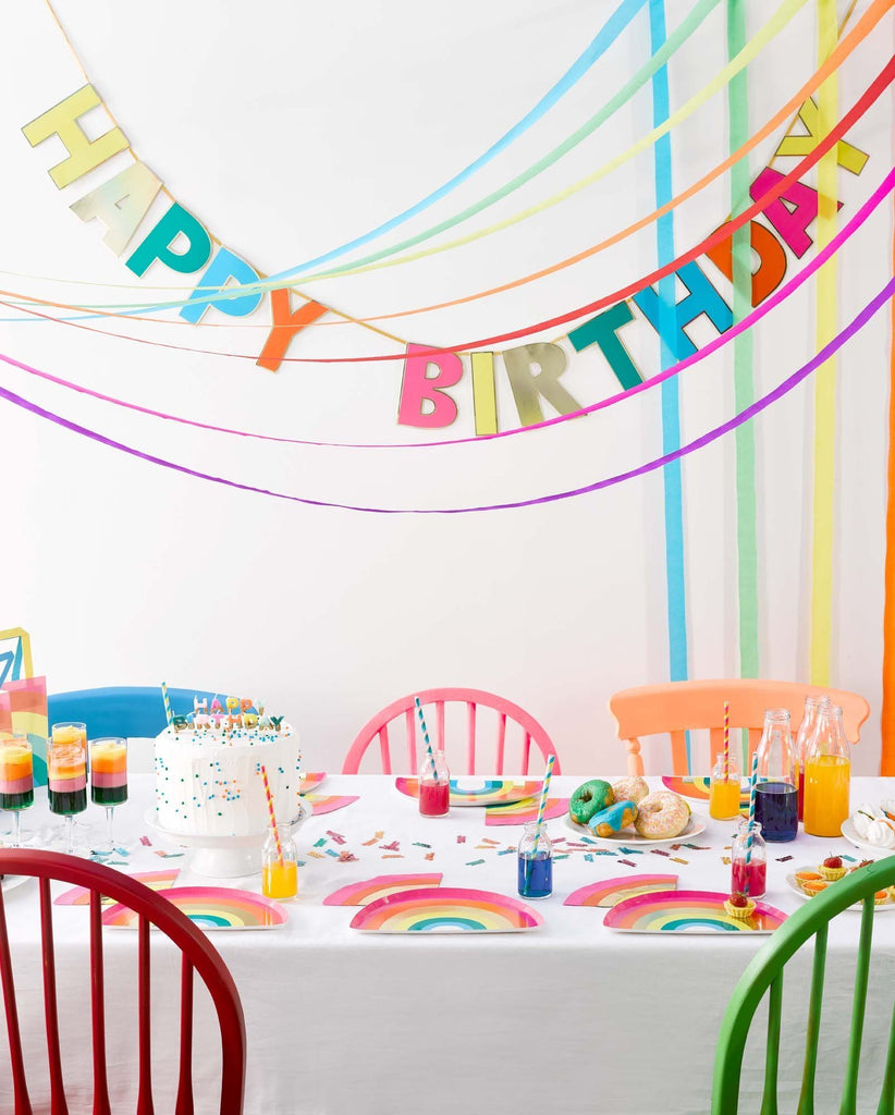 Talking Tables birthday brights rainbow happy birthday garland