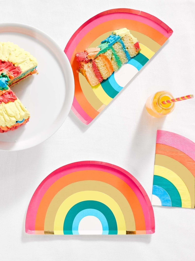 Talking Tables birthday brights rainbow shaped plates