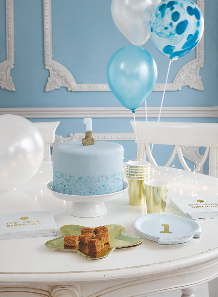 We Heart Birthday Glitter Number Candle Blue 4 - Talking Tables US Public
