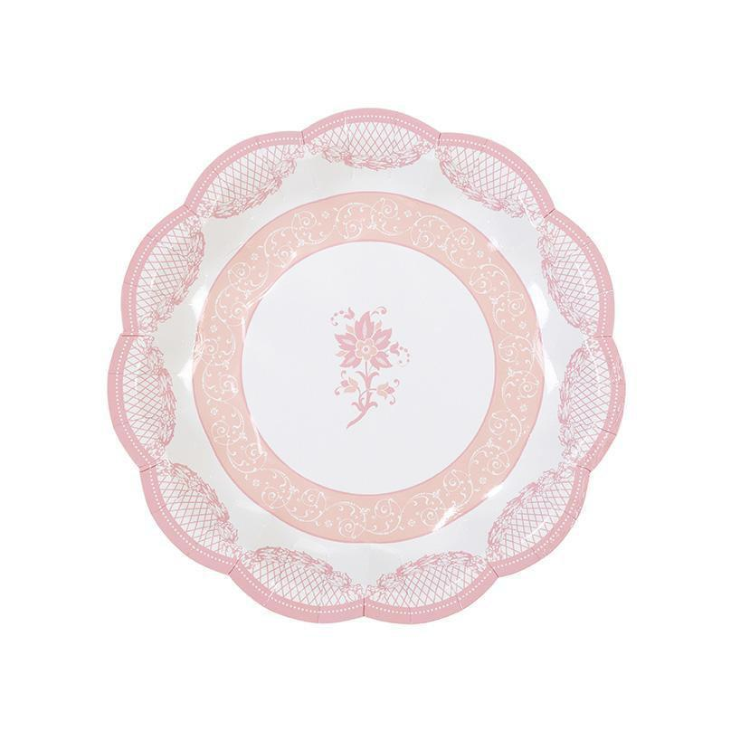 Talking Tables party porcelain rose scalloped plate 7 34 12pk