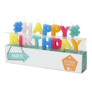 Talking Tables party time happy birthday shaped candles 15 letters