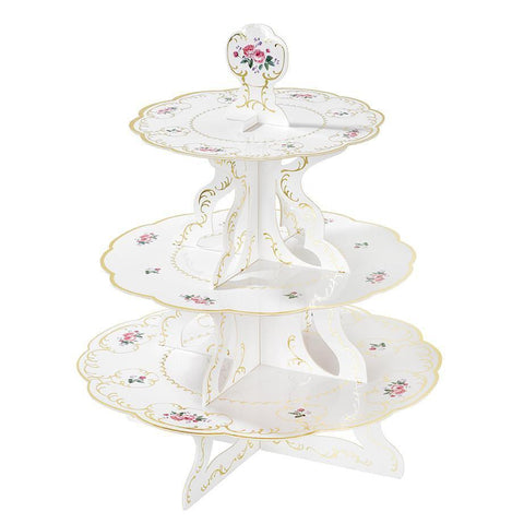 Talking Tables truly chintz 3 tier reversible cake stand with gold foil