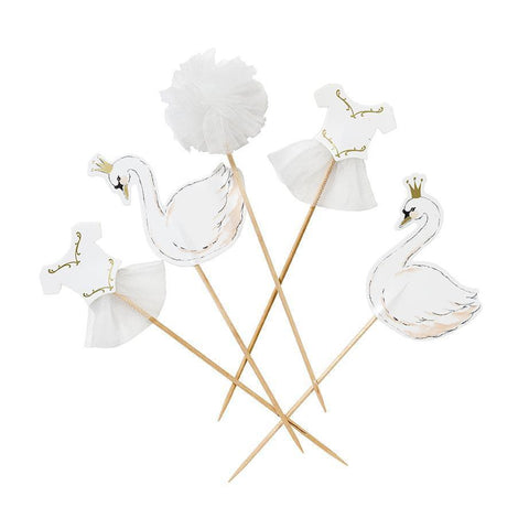 Talking Tables we heart swan cake toppers pk 12