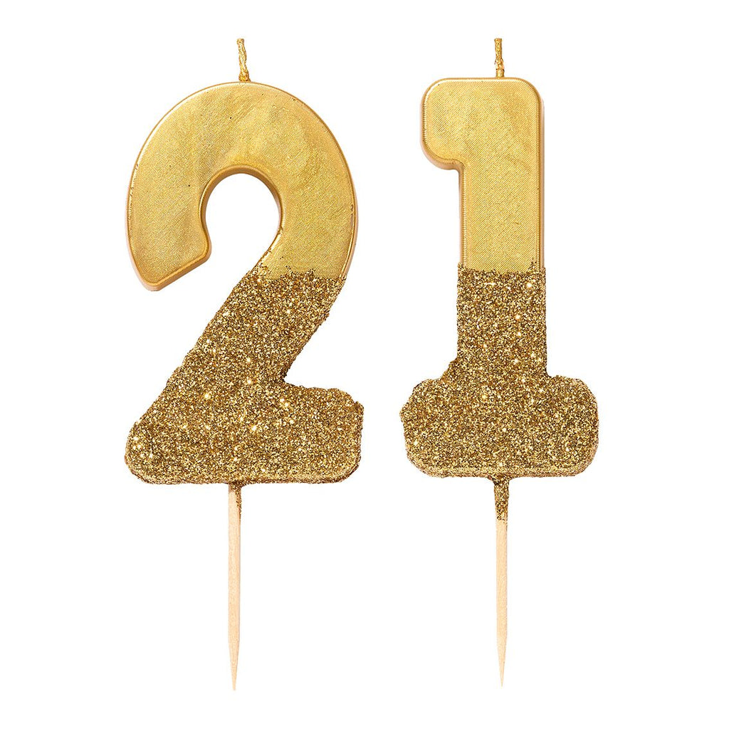 We Heart Birthdays Gold Glitter Number Candle 1