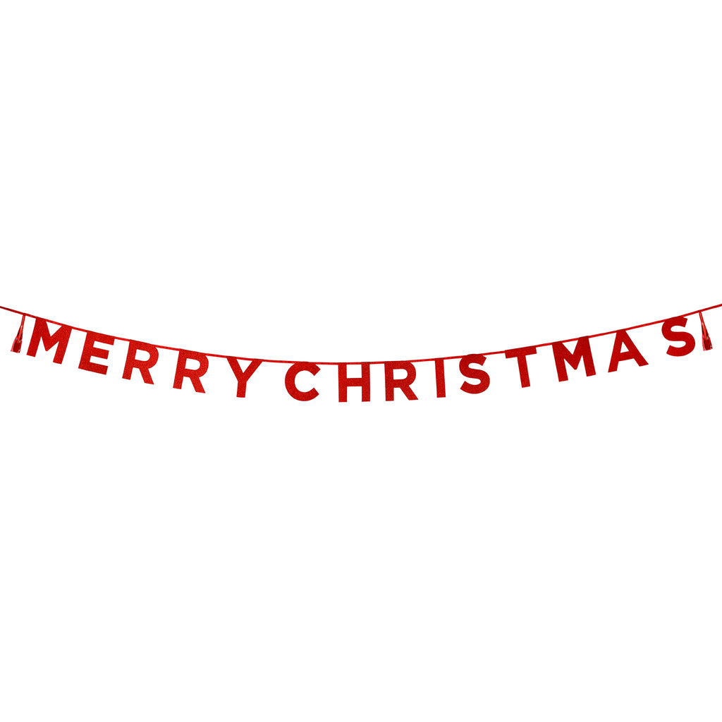 Say It With Glitter 'Merry Christmas' Red Banner