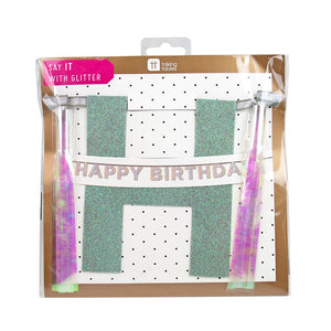 Say It With Glitter Iridescent 'Happy Birthday' Banner