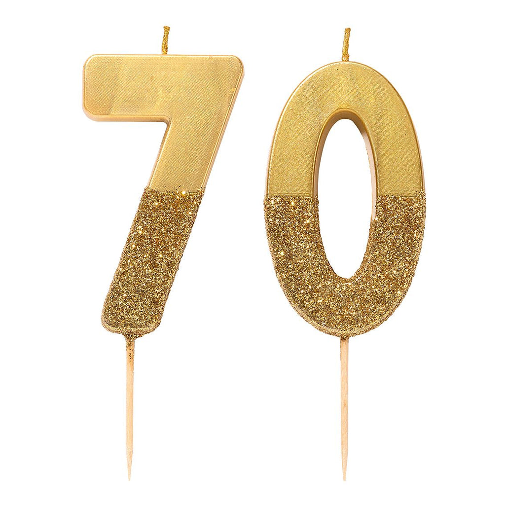 We Heart Birthdays Gold Glitter Number Candle 7