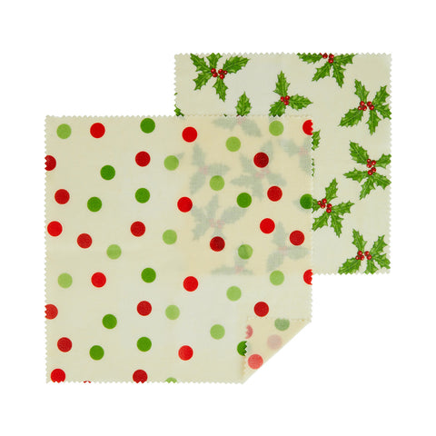 Botanical Holly Beeswax Wraps, 2 Pack
