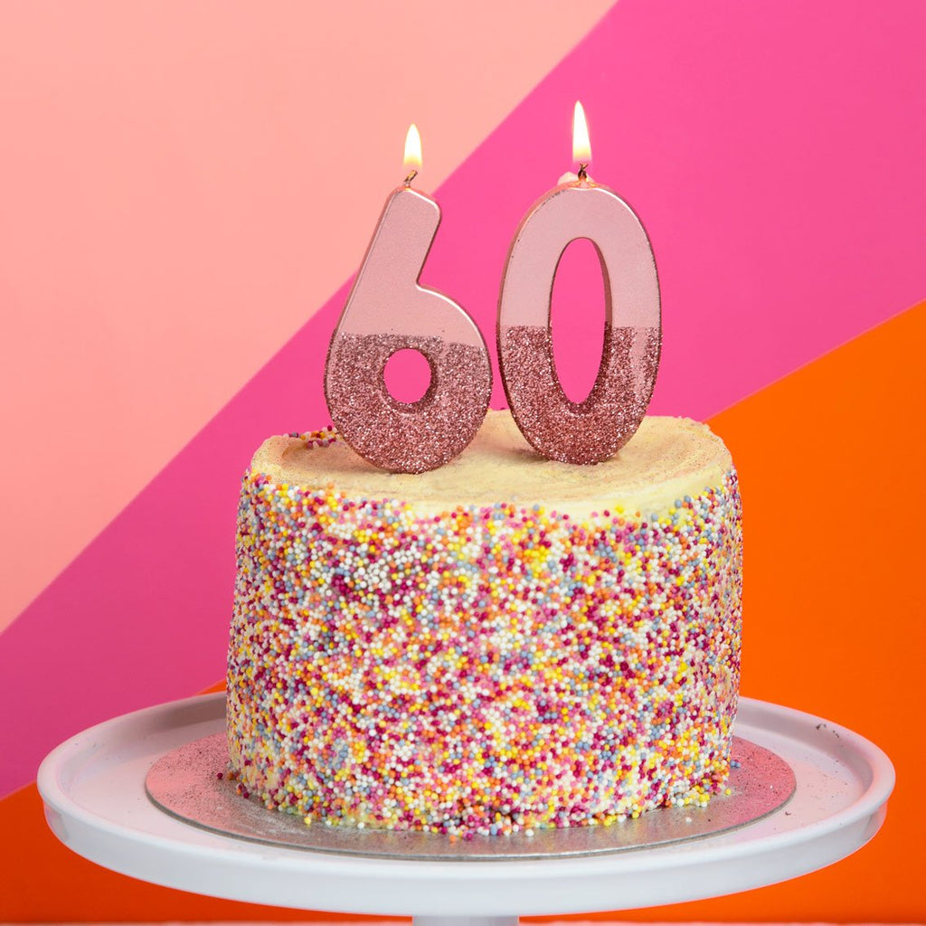 We Heart Birthdays Rose Gold Glitter Number Candle 0