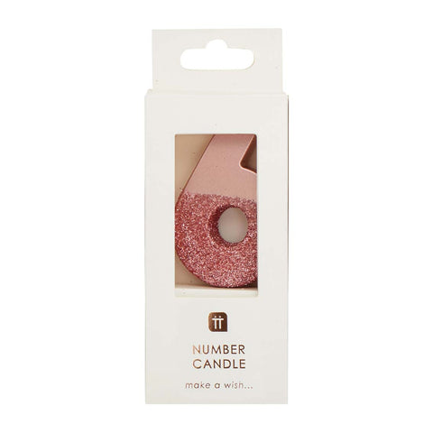 We Heart Birthdays Rose Gold Glitter Number Candle 6