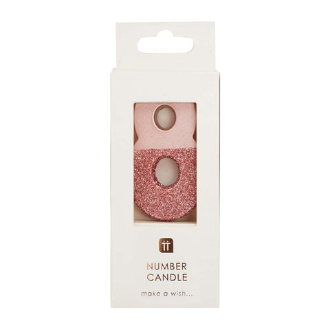 We Heart Birthdays Rose Gold Glitter Number Candle 8
