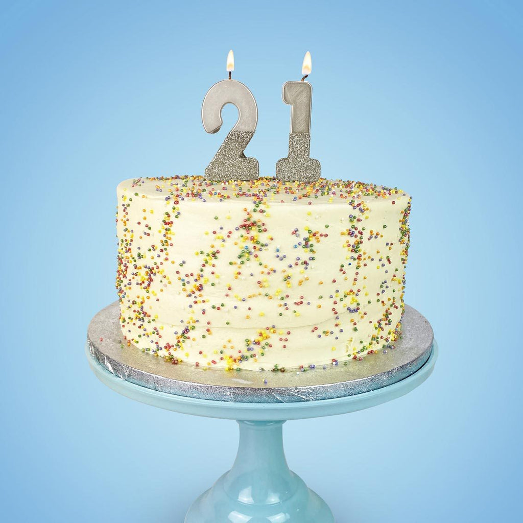 We Heart Birthdays Glitter Number Candle 2, Silver