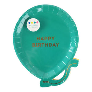Bright happy birthday ballon plate