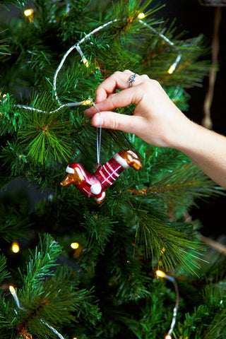 Sausage Dog Glass Tree Decoration