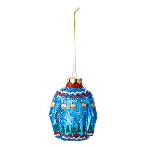Blue Christmas Jumper Glass Tree Decoration - Talking Tables EU Public