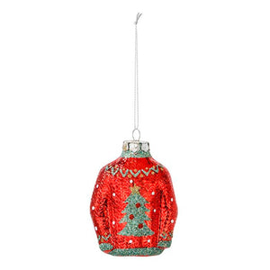 Red Christmas Jumper Glass Tree Decoration - Talking Tables EU Public