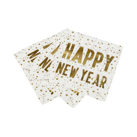 Luxe Happy New Year Napkin, 25Cm, 16Pk