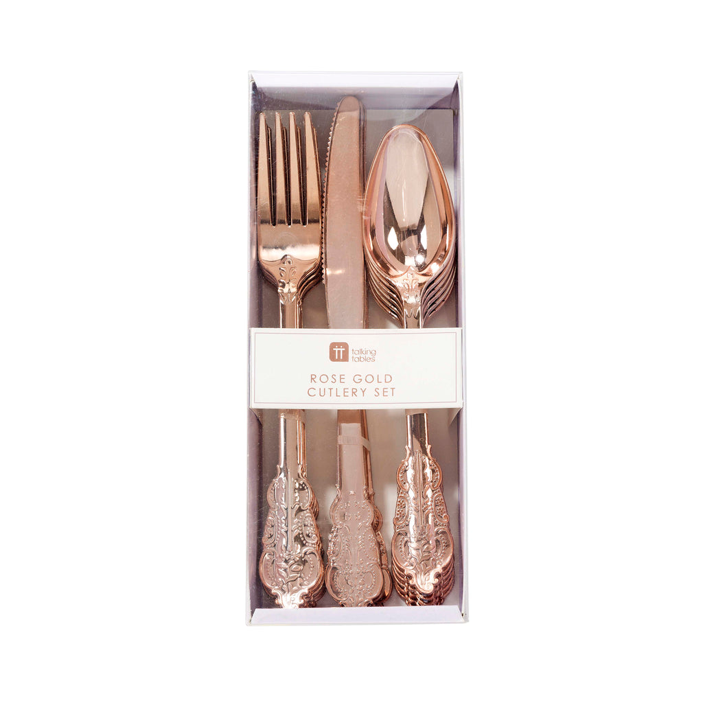 Talking Tables Party Porcelain Rose Gold Cutlery