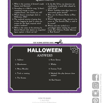 Printable - Pub Quiz Halloween Card