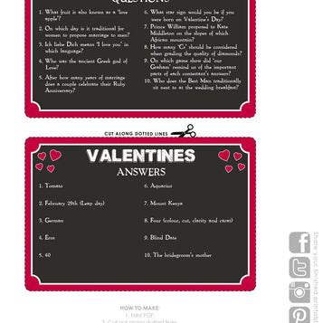 Talking Tables Printable - Pub Quiz Valentine Card