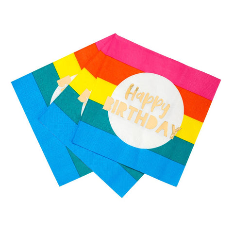 Birthday Brights Rainbow Happy Birthday Napkins - Talking Tables EU Public