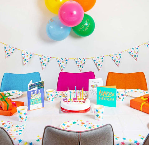 Birthday Brights Rainbow Star Paper Table Cover
