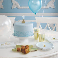 We Heart Birthday Glitter Number Candle Blue 1 - Talking Tables EU Public