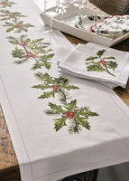 Botanical Holly Fabric Table Runner