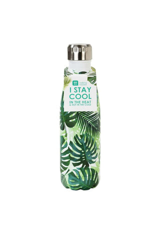 talking tables eco stainless steel water bottle in palm leaf print
