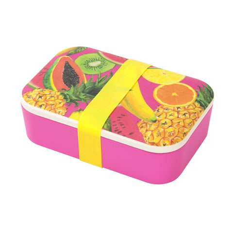 talking tables eco lunch box in tropical fruit print