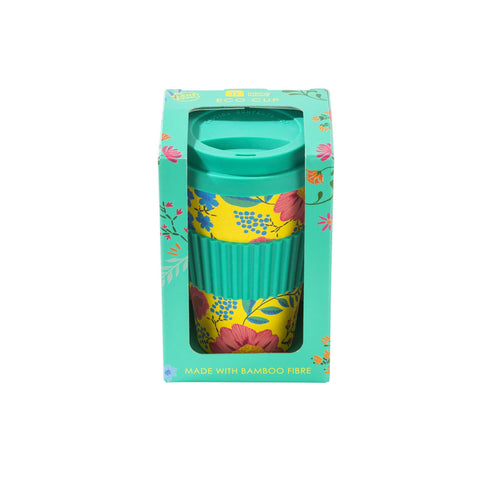 talking tables eco travel coffee cup in boho floral print