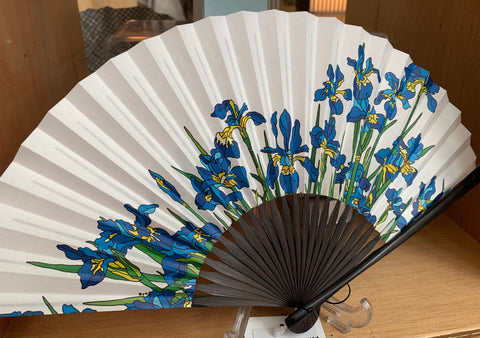 Japanese floral printed fan as featured on Talking Tables Blog