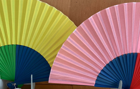 Rainbow fans as featured on Talking Tables Blog