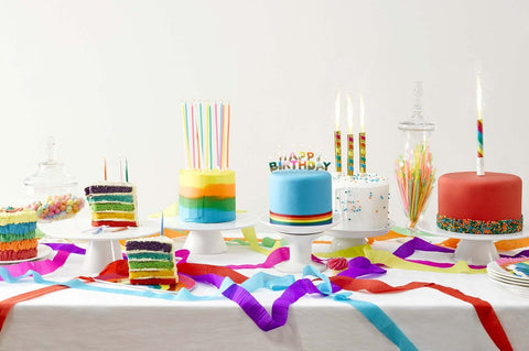 talking tables rainbow ice fountain and cake candles