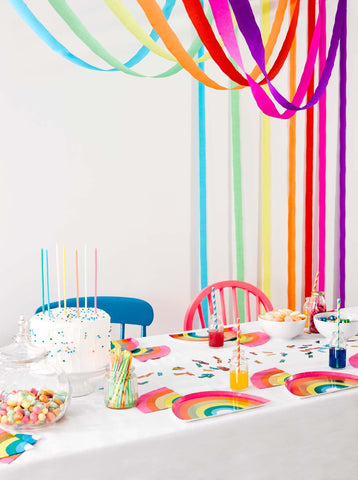 talking tables rainbow paper streamer decorations
