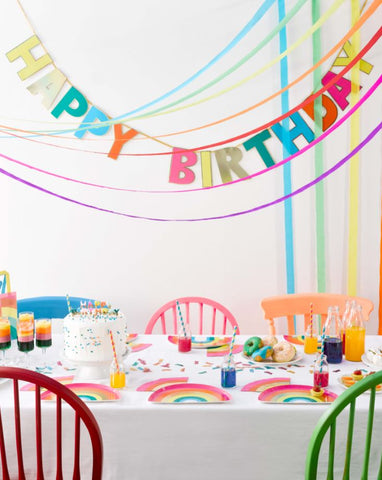 talking tables rainbow brights birthday table