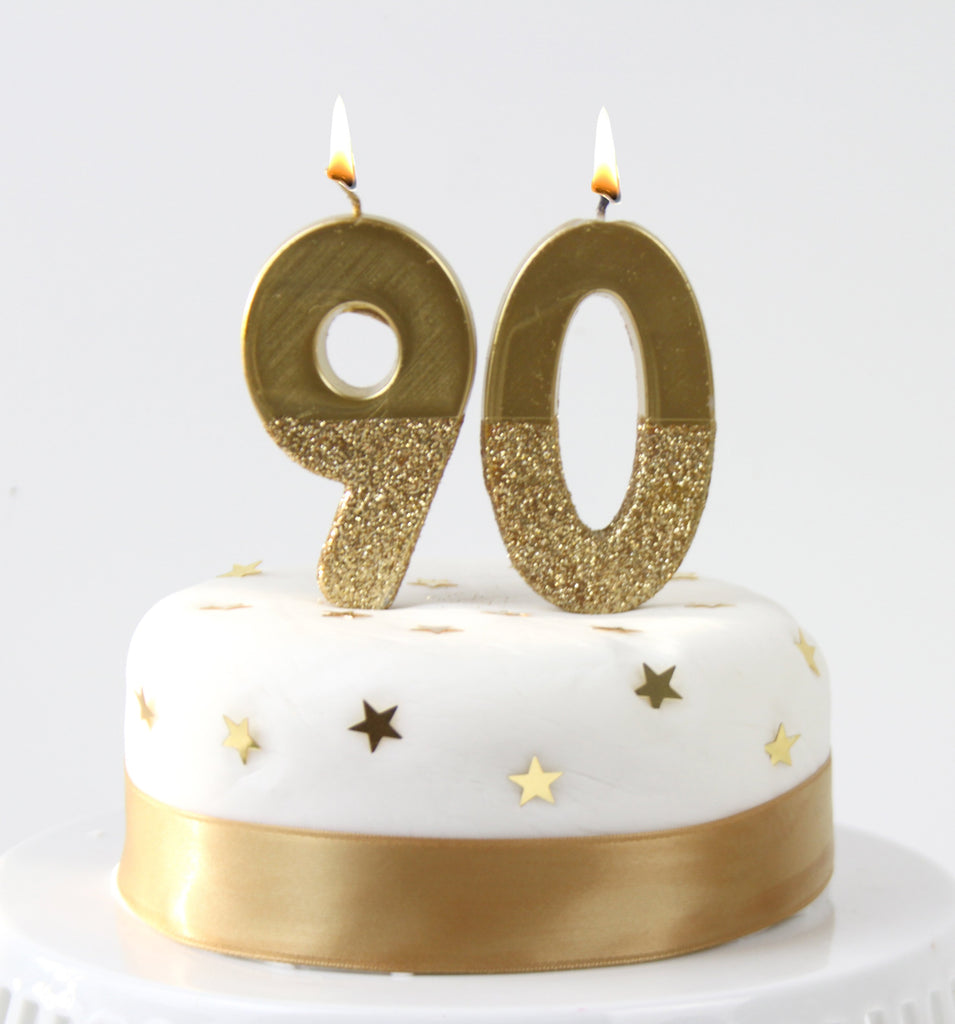 We Heart Birthdays Gold Glitter Number Candle 9