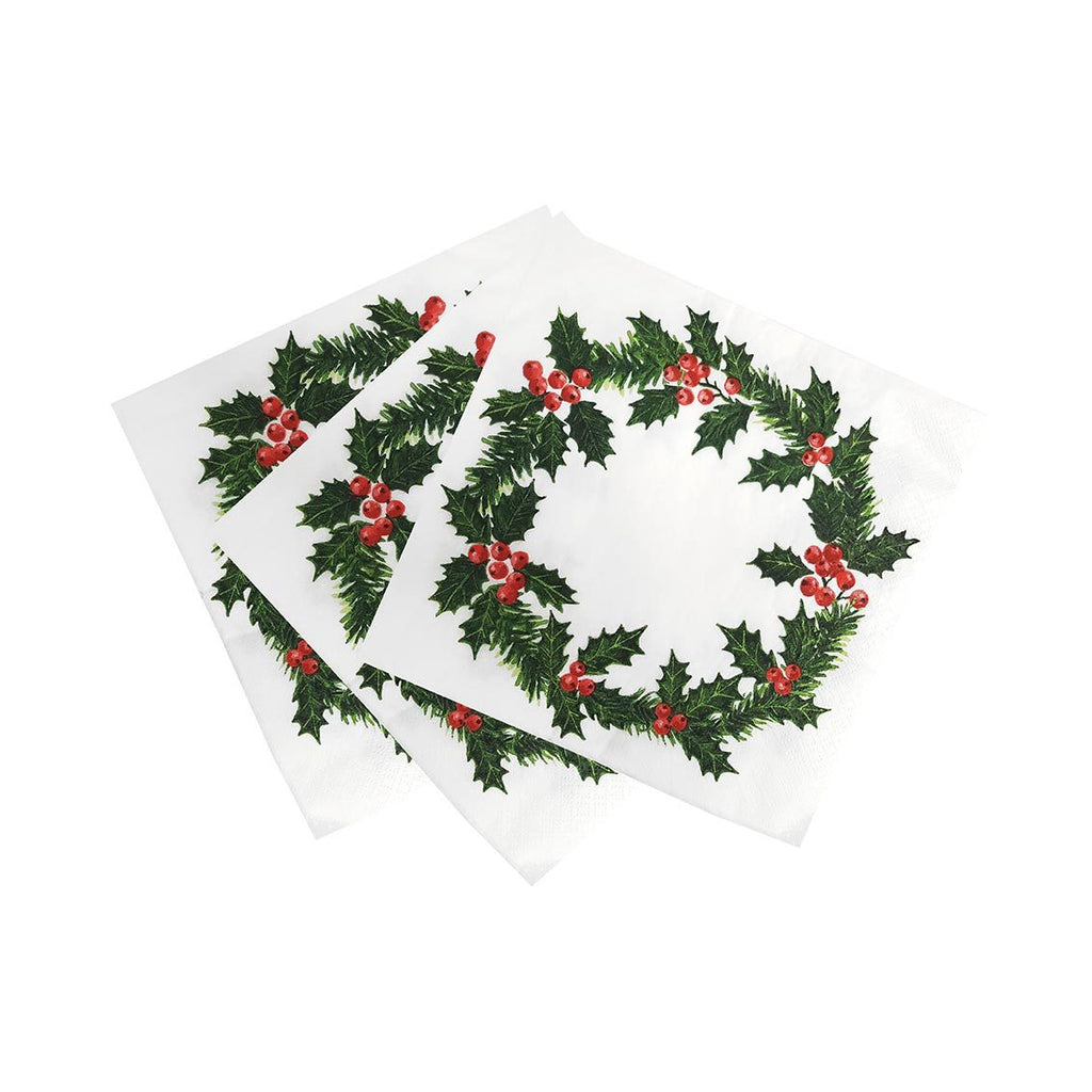 botanical holly holly wreath print napkin 40cm 20pk home compostable - Talking Tables